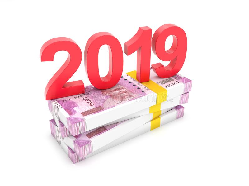 New Year 2019 Creative Design Concept - 3D Rendered Image stock illustration