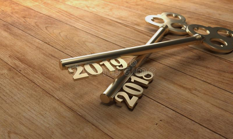 New Year 2019 Creative Design Concept - 3D Rendered Image. Year 2019 Creative Design Concept with Keys - 3D Rendered Image stock illustration