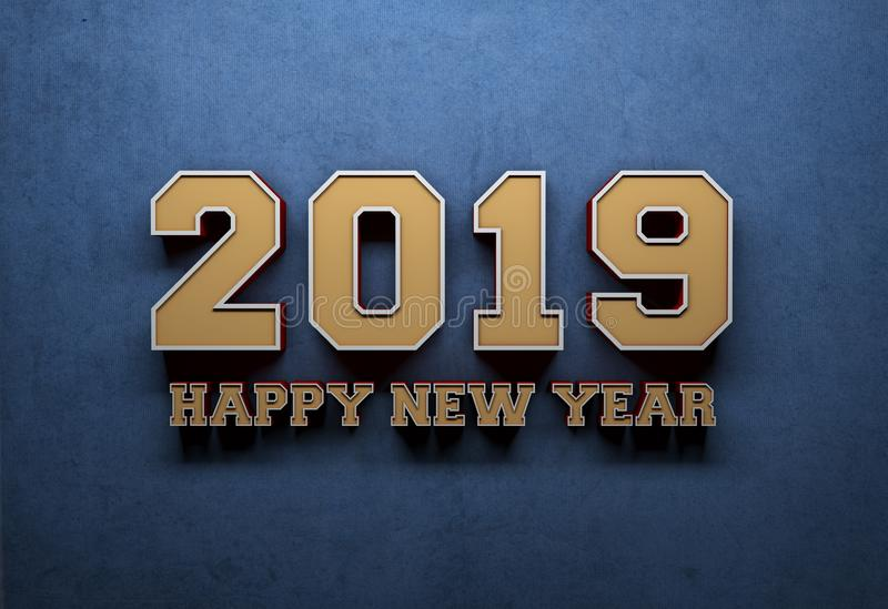 New Year 2019 Creative Design Concept - 3D Rendered Image. Year 2019 Creative Design Concept Retro Style - 3D Rendered Image royalty free illustration