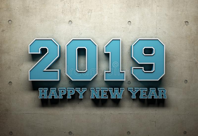 New Year 2019 Creative Design Concept - 3D Rendered Image. Year 2019 Creative Design Concept Retro Style - 3D Rendered Image stock illustration