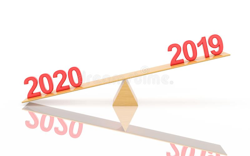 New Year 2019 Creative Design Concept - 3D Rendered Image. New Year 2019 Creative Design Concept on Sea saw- 3D Rendered Image royalty free illustration