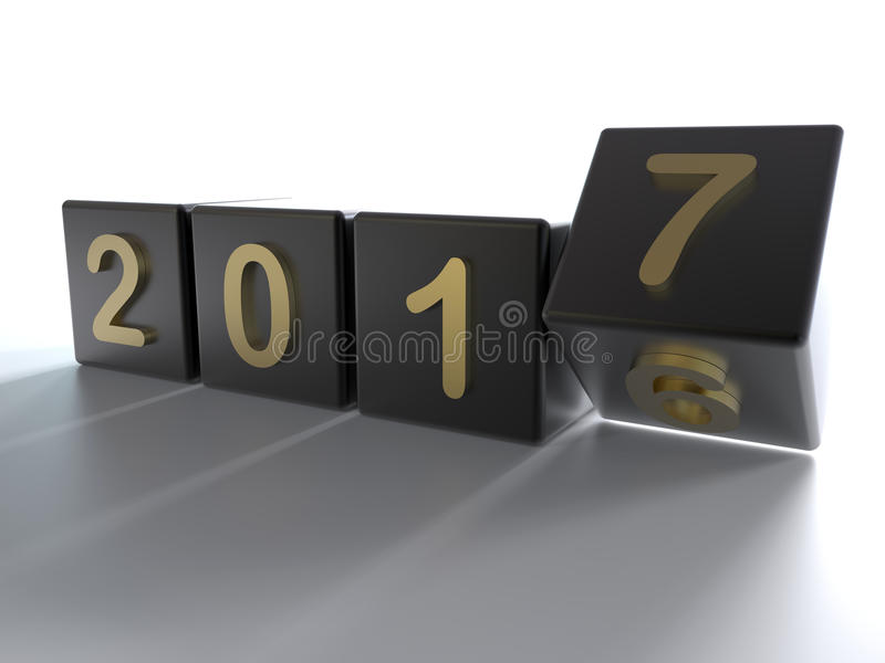 New year 2017 cubes transition stock illustration