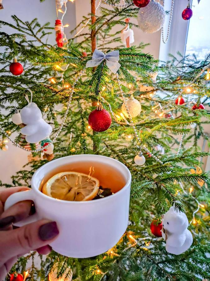 New year with cup of tea. Cup of tea with lemon and new year tree royalty free stock photos
