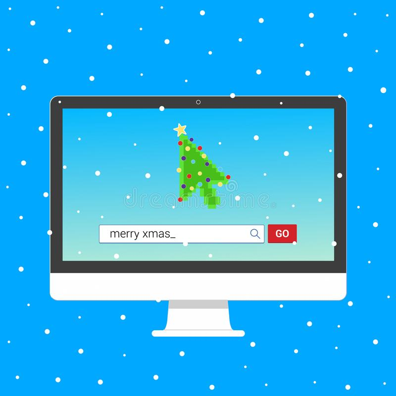 All in one PC monitor device with Search bar with text Merry christmas and button go with christmas tree arrow  cursor pointer. Flat style design invite to the vector illustration