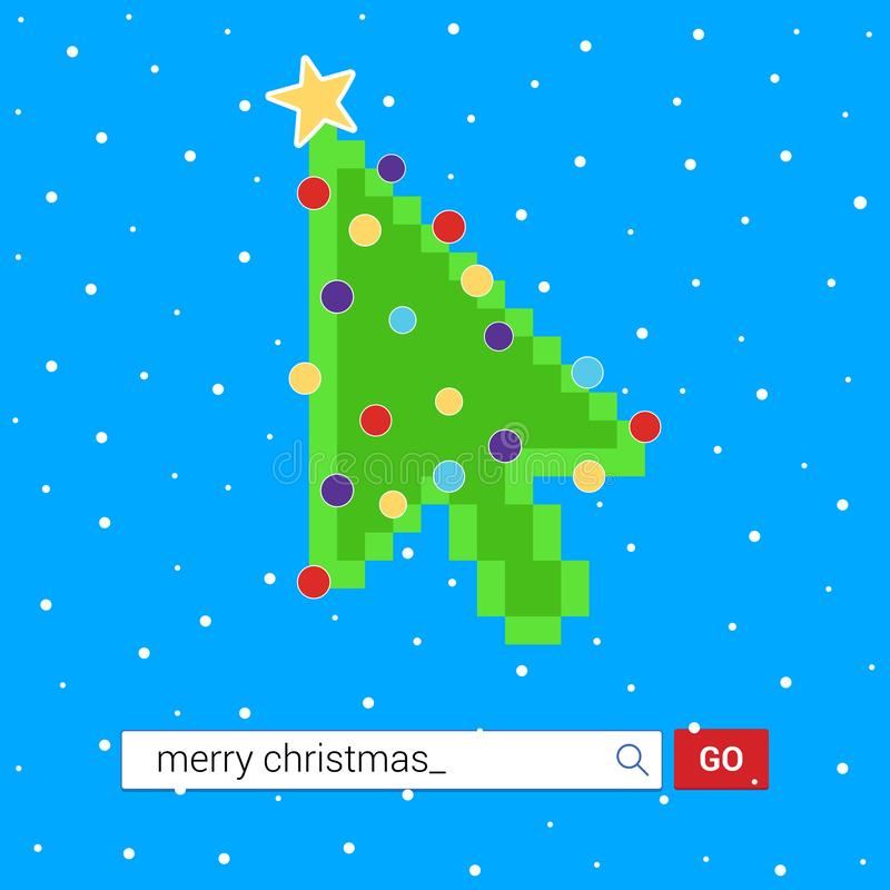 Search bar with text Merry christmas and button go with christmas tree arrow  cursor pointer. Flat style design invitation to the xmas party postcard vector royalty free illustration