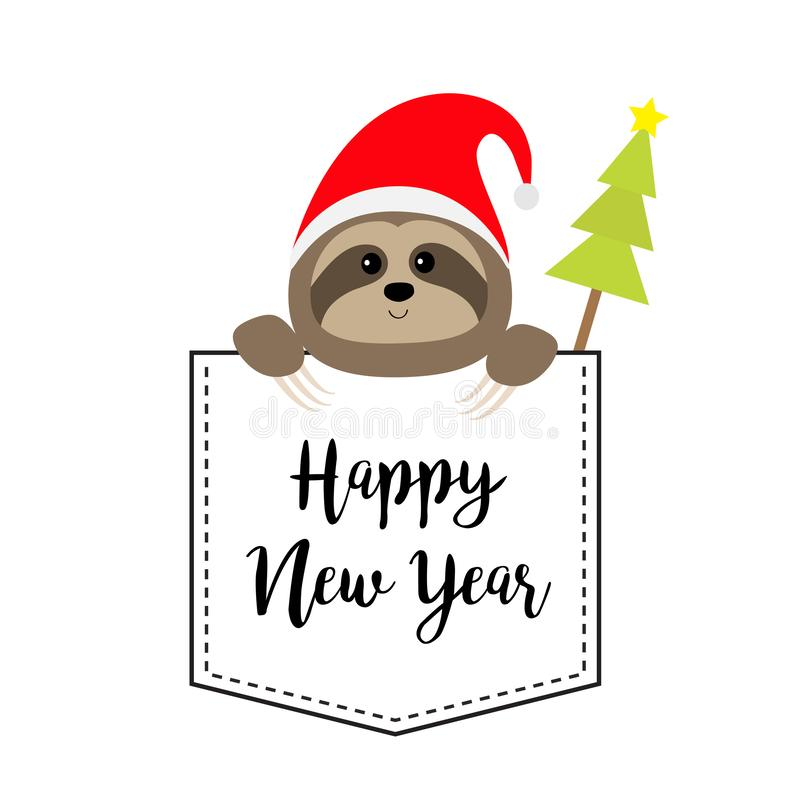 New Year. Cute sloth face head in the pocket. Santa hat. Fir tree. Cartoon animal. Lazy character. Dash line. White and black. Color. T-shirt design. Merry royalty free illustration