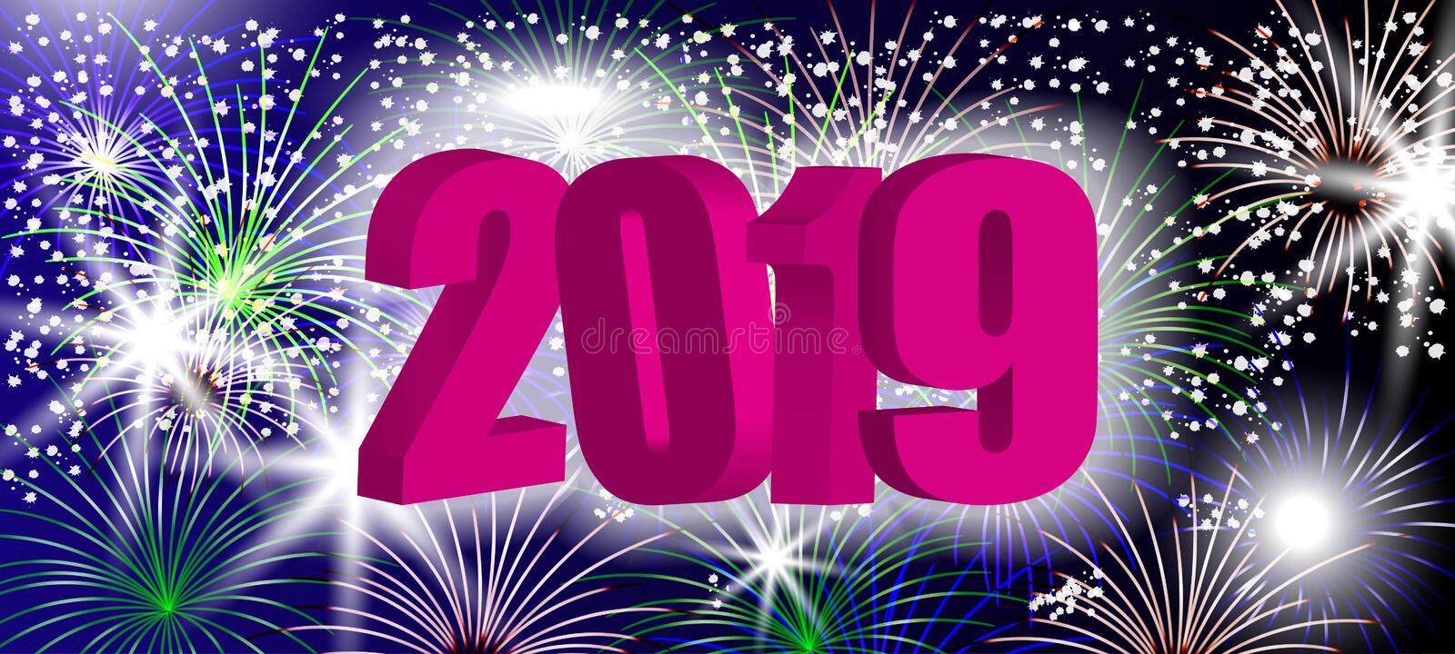 New Year 3D design 2019 with sparkling colorful fireworks. Pink number to holiday background. Vector royalty free illustration
