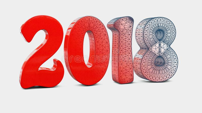 New year 2018 3d rendered vector illustration