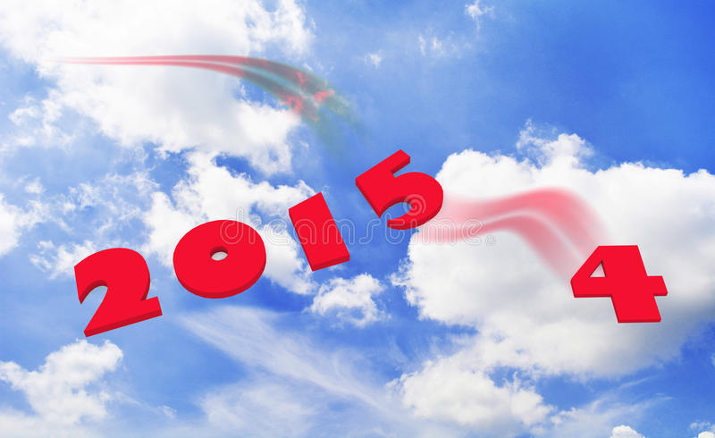 New year 2015. 3d perspective red color tone with sky and cloud background stock illustration