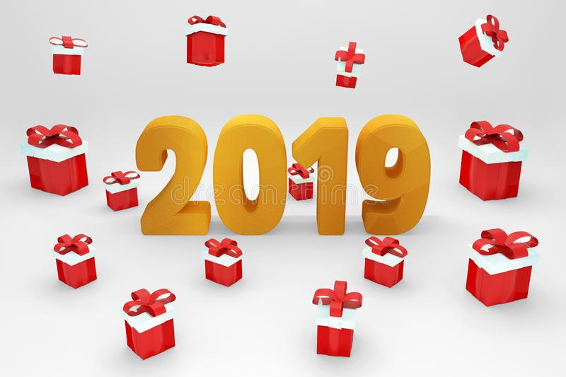 New Year 2019 - 3D Rendered Image. Festival,. Red 2019 on White Background, New Year 2019, 3D Illustration, Happy New Year 2019, Red 3D Numbers, New Year 2019 3D stock illustration