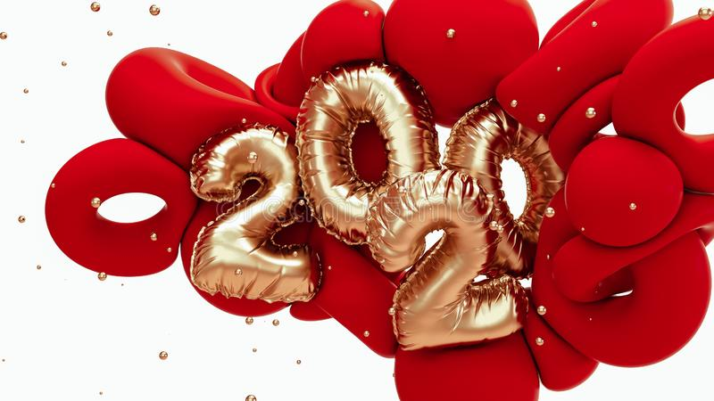 2020 new year 3d rendering illustration. Red and metallic gold abstract shapes with foil numbers lettering. White backdrop with royalty free illustration