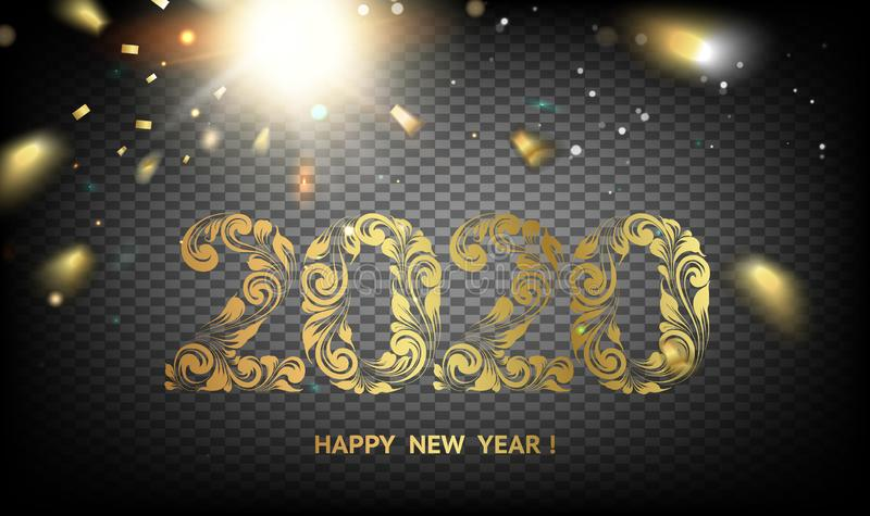 2020 New year dark background. Calendar label with golden confetti. Holiday design template for invitation or greeting stock illustration