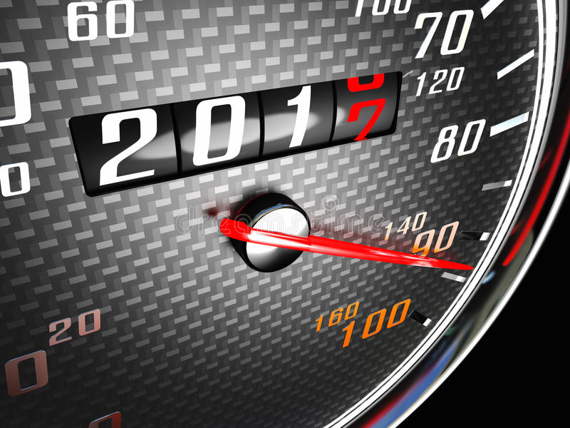 New year day speedometer vector illustration