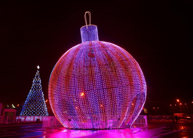 New Year decorated night city stock photo