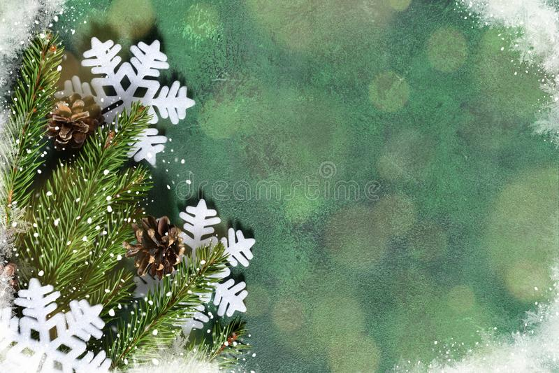 New Year decoration with bokeh effect on a green background. Merry Christmas and Happy New Year! stock images
