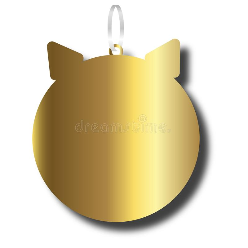 New Year decoration golden pig silhouette Flat simple style piglet Chinese zodiac symbol of the year. Happy New Year vector illust vector illustration