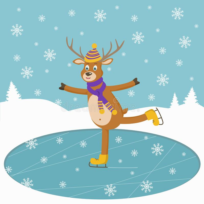 New year deer skating. Winter, snow, Christmas tree. Cartoon deer riding on ice. Snow is falling. New year stock illustration
