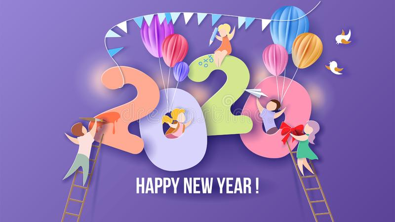 2020 Happy New Year design card with kids stock image