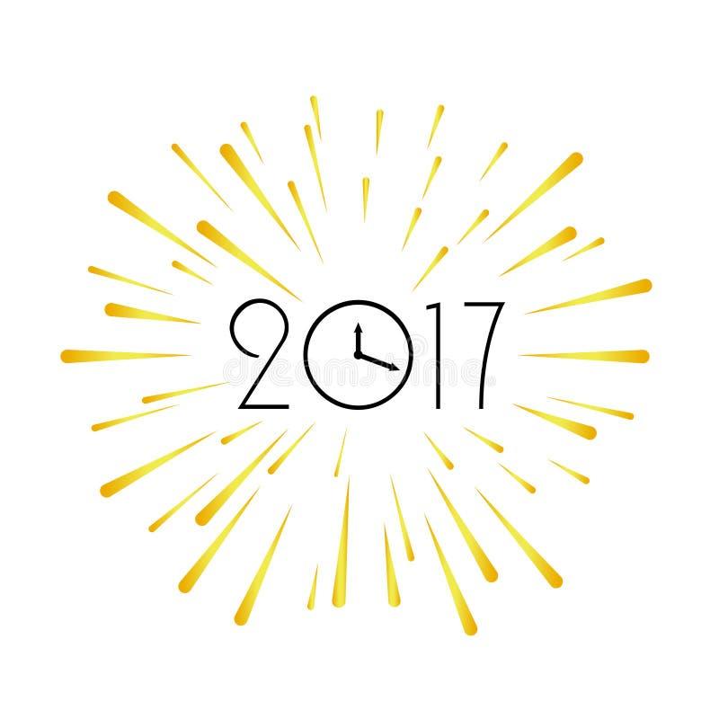 2017 new year design template. Greeting background. Burst christmas card. Holiday illustration royalty free illustration