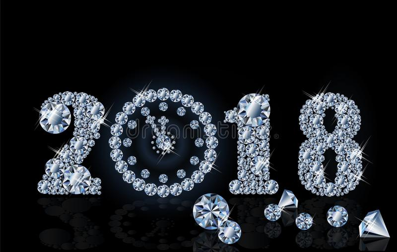 Download New 2018 Year With Diamond Clock Wallpaper Vector Stock