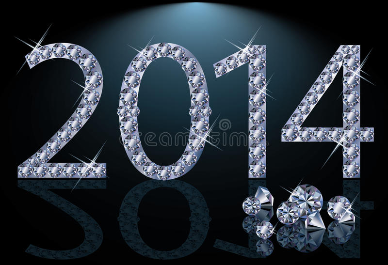 New 2014 Year With Diamonds Royalty Free Stock Images