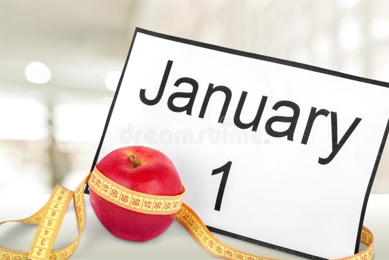 New year. Diet health habit changing white stock photos