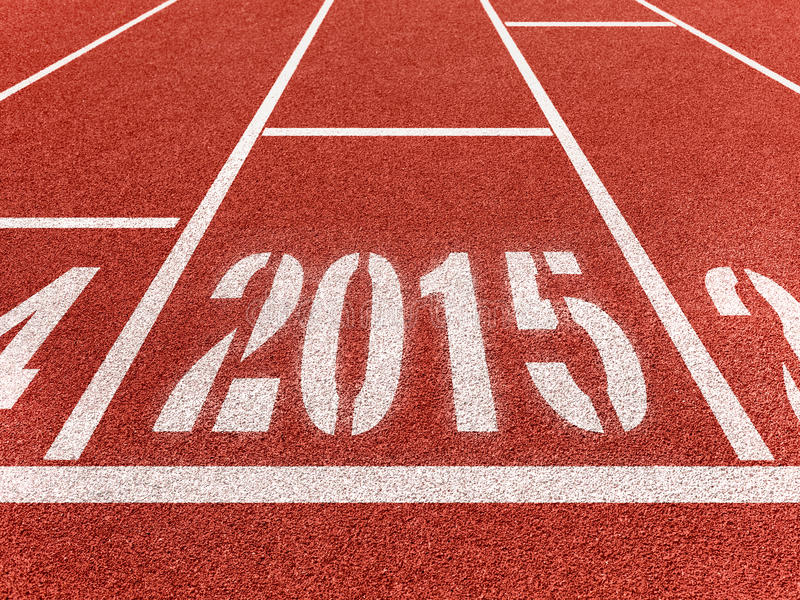 New year 2015 diggits on sport track stock photo