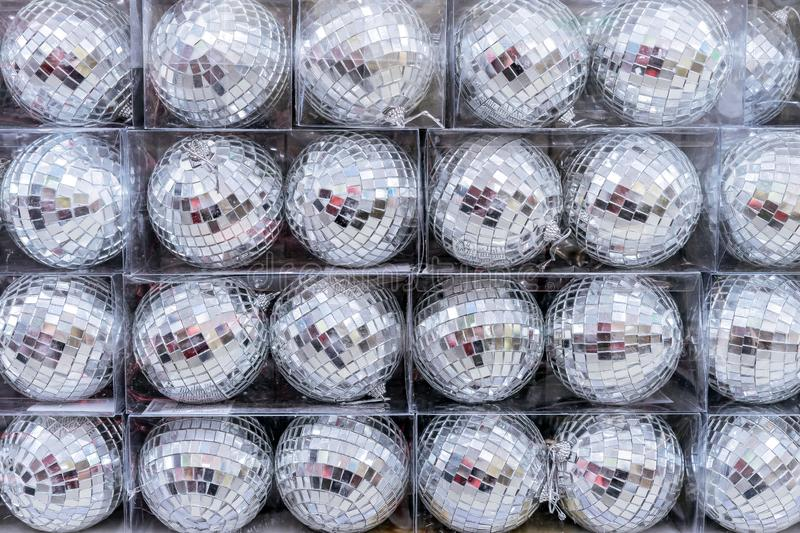 New Year disco balls. Mirror decorations on the Christmas tree royalty free stock photo