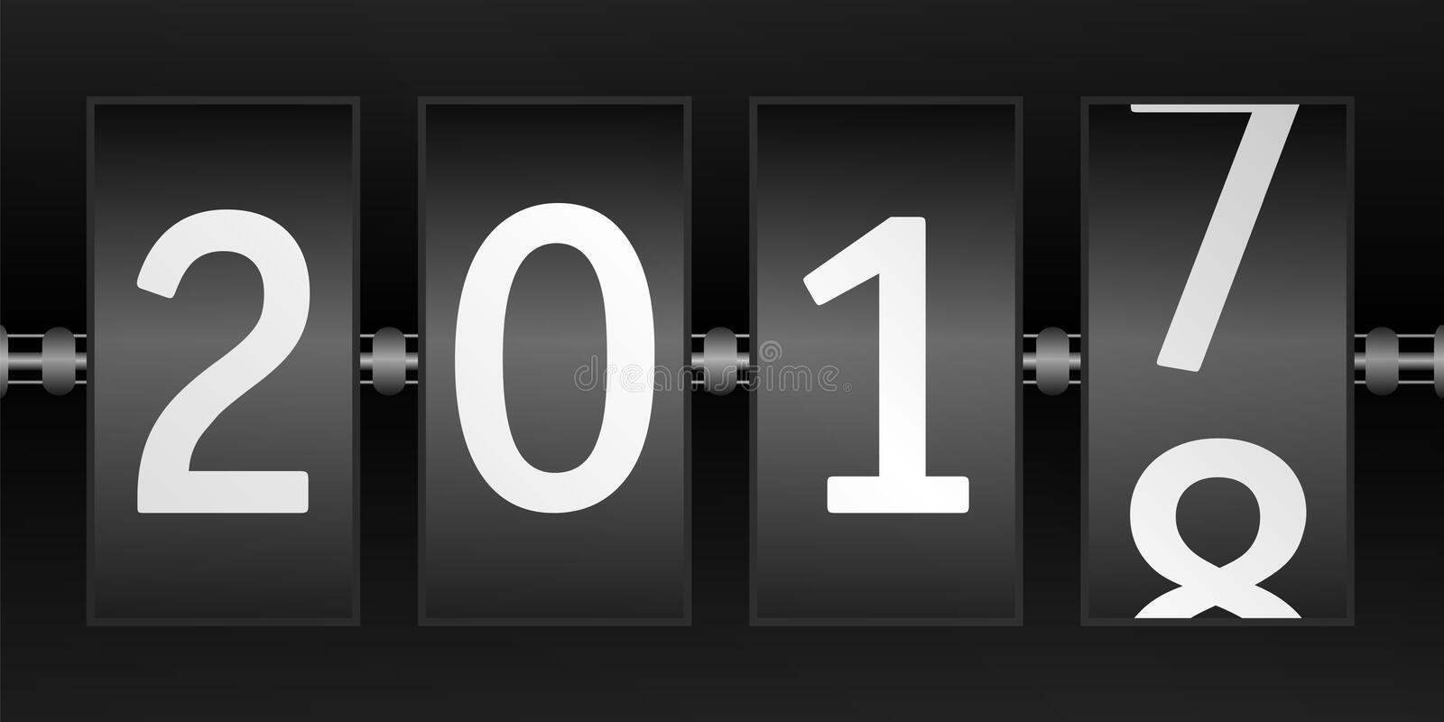 New year 2018. Display with changing year dates. Display with changing year dates, turn of the year,end of year. New year 2018. vector stock illustration