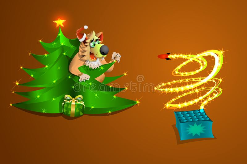 New year dog watches the fireworks from the crafts , on a gold and brown background , illustration and vektr. stock image