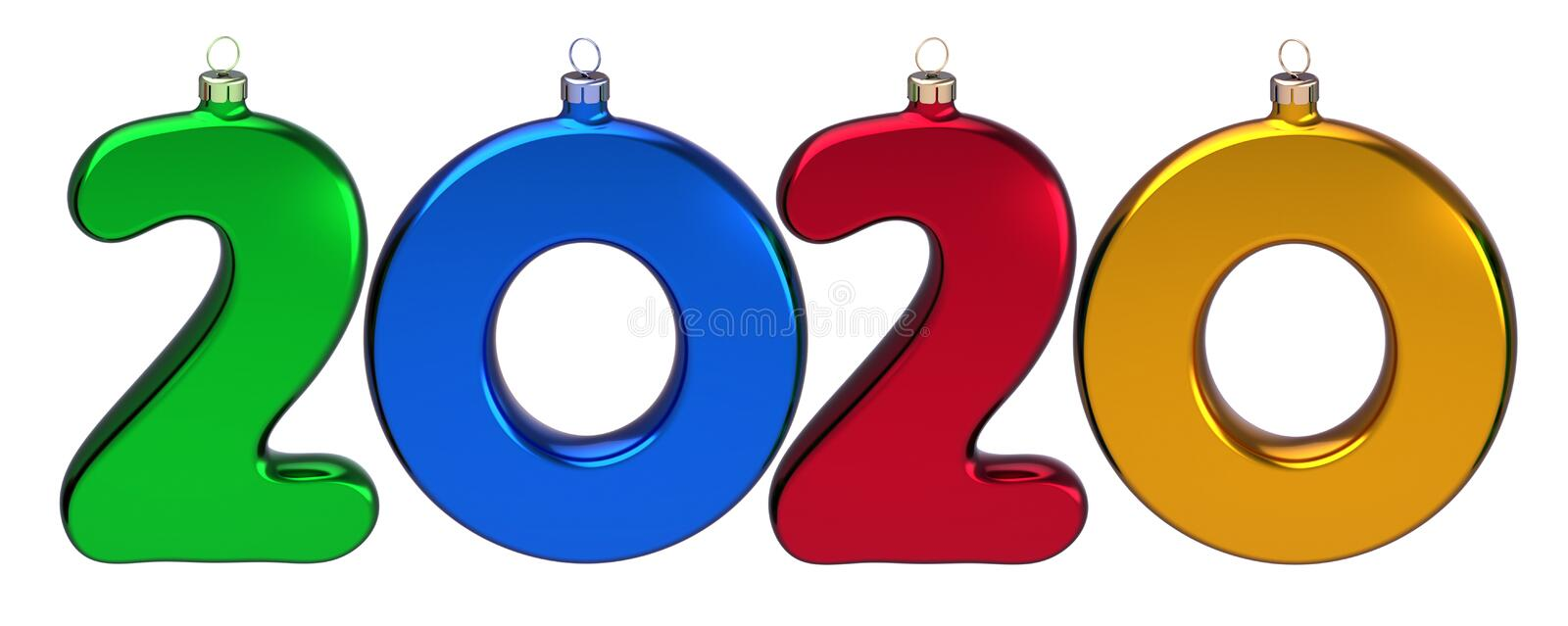 New 2020 Year double twenty number as Xmas baubles colorful date royalty free stock photography