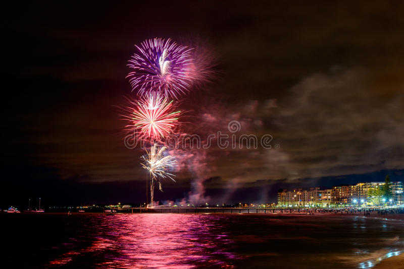 New Year Eve fireworks display at Glenelg stock photos