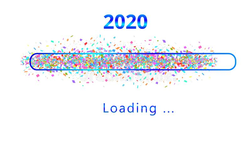 2020 new year eve loading bar with colorful confetti isolated on white background. Modern template design for holiday stock illustration