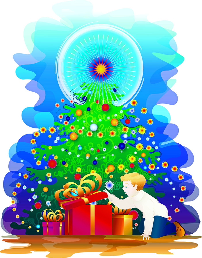 New year evening. We can see a little boy under new year tree vector illustration