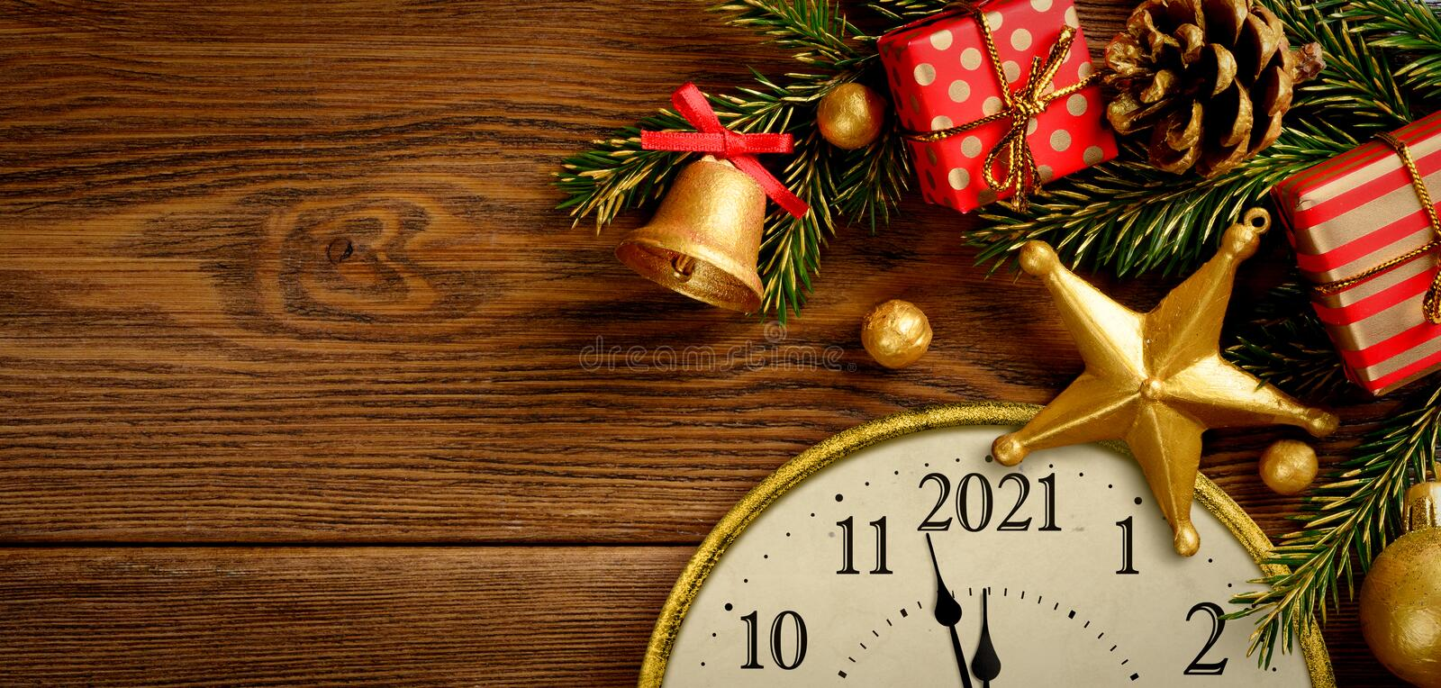 New Year Ever 2021. Retro Style Clock With Christmas ...