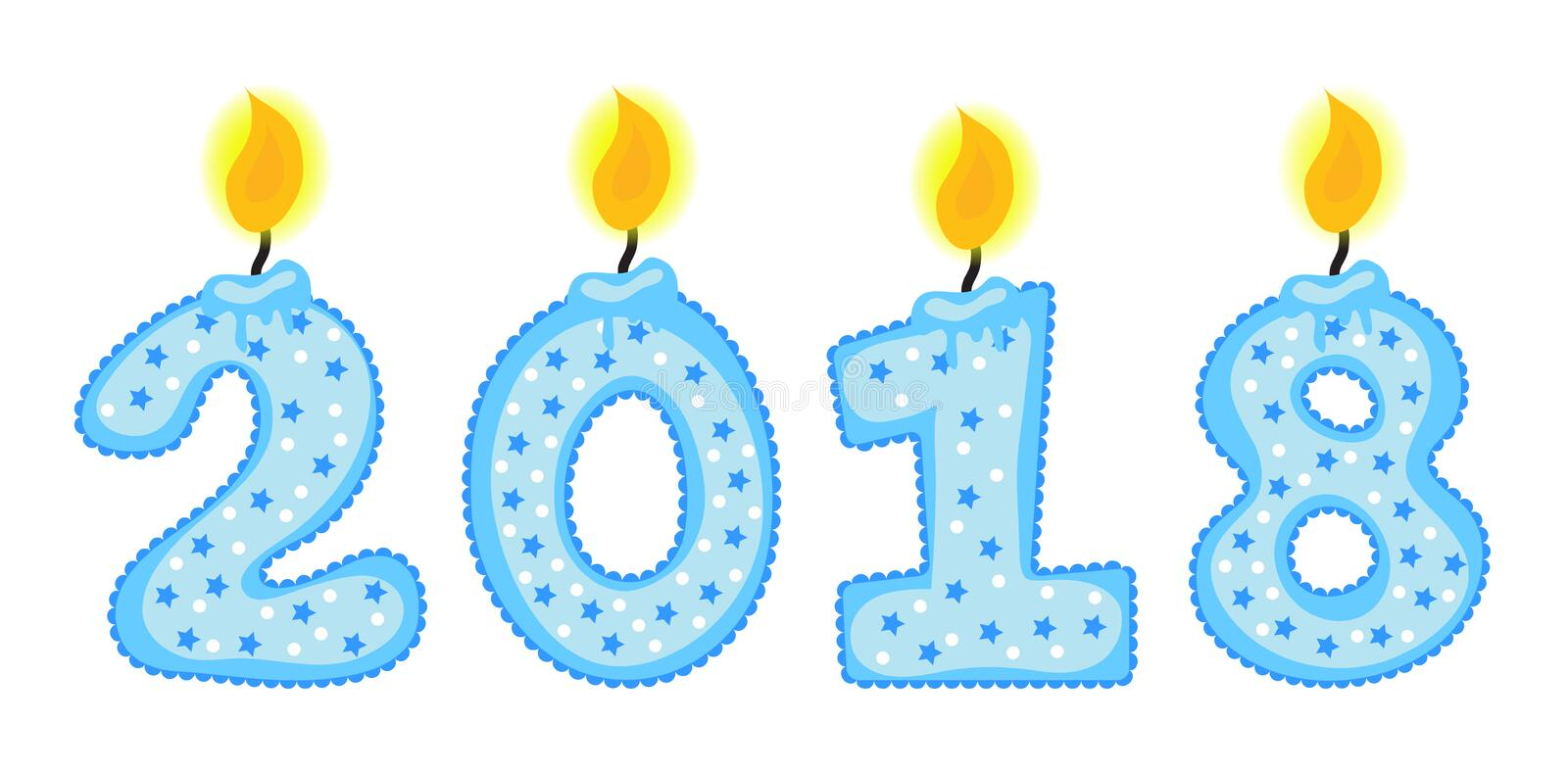 New Year 2018 figures, numbers of candles, isolated on a white background. Vector illustration. stock illustration