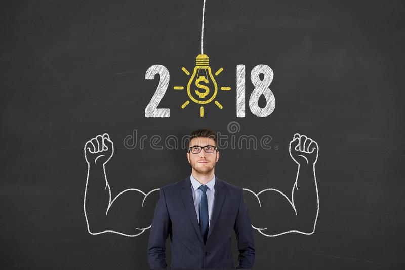 New Year 2018 Finance Idea Concepts on Chalkboard Background. New year working royalty free stock image