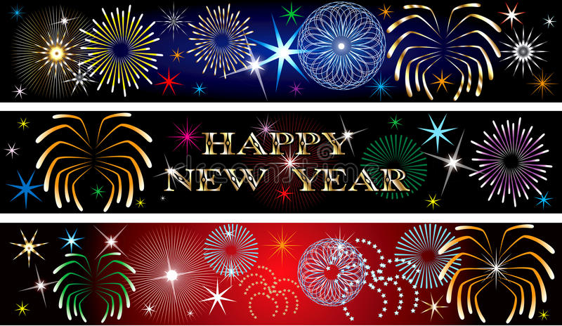New Year Firework Banners 2 stock illustration