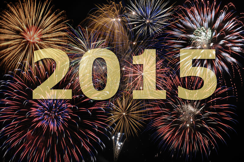 New year firework 2015 stock images