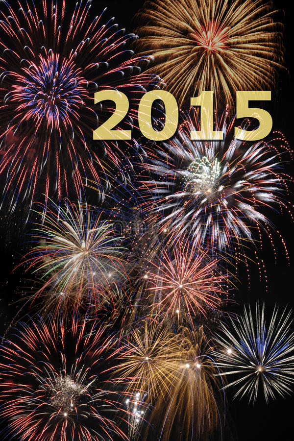 New year firework 2015 stock photo