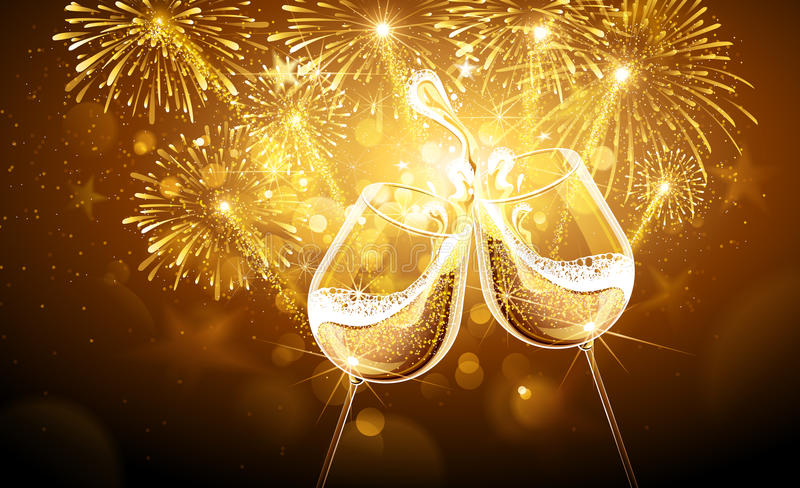 New Year fireworks and champagne stock illustration