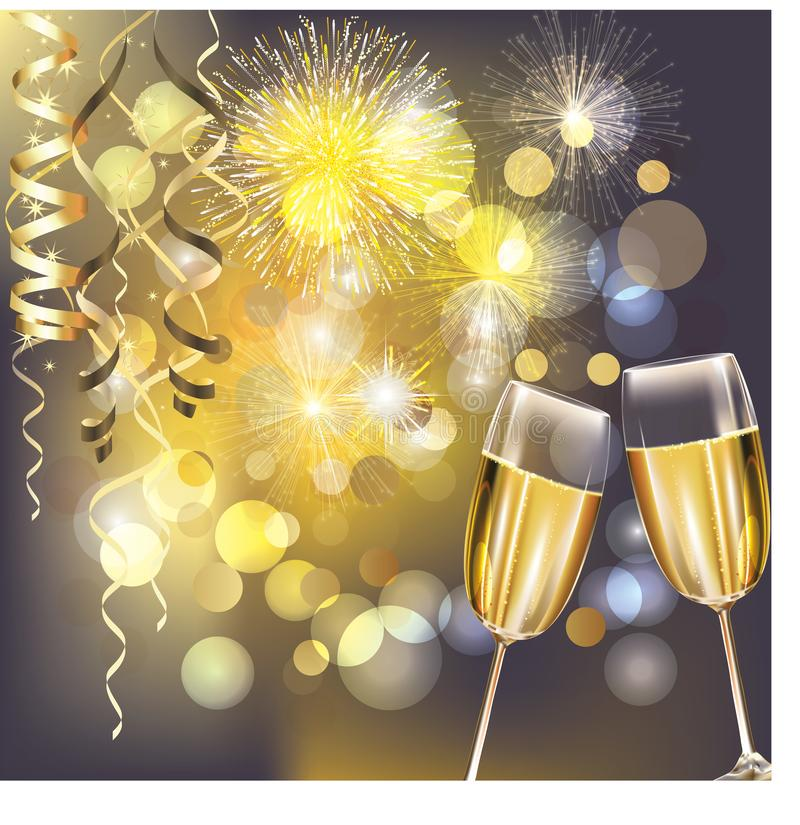New Year fireworks and champagne glasses. New years eve celebration background with champagne