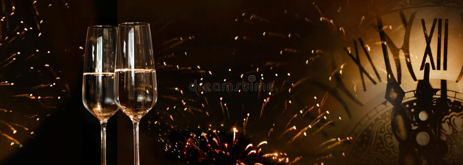 New year fireworks with champagne royalty free stock photography