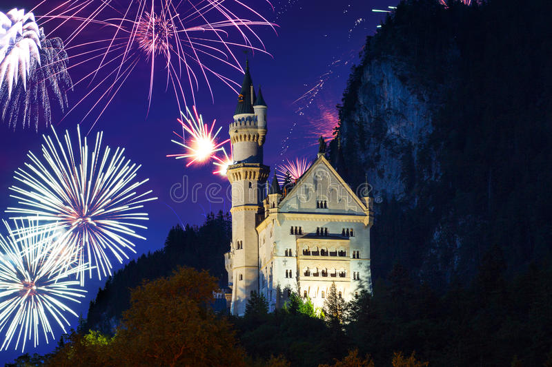 New Year fireworks display in Bavarian Alps royalty free stock image