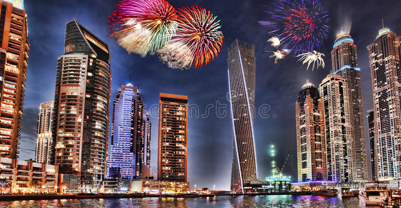 New Year fireworks display in Dubai Marina, Dubai, UAE. New Year fireworks display in Dubai Marina, UAE royalty free stock photos
