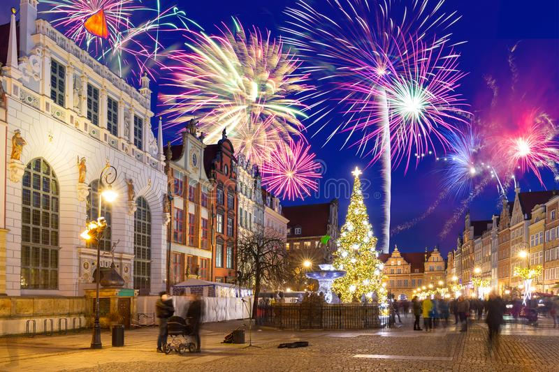 New Year fireworks display in Gdansk. Poland stock photography