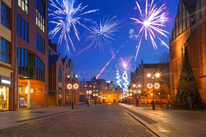 New Year fireworks display at the old town of Elblag stock images