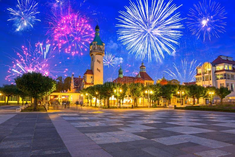 New Year fireworks display Sopot at the Molo, Poland stock photos