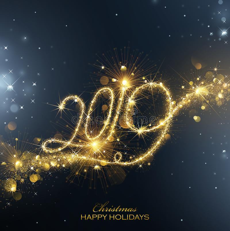 New Year Fireworks 2019 with Flickering Lights Effect. Vector vector illustration