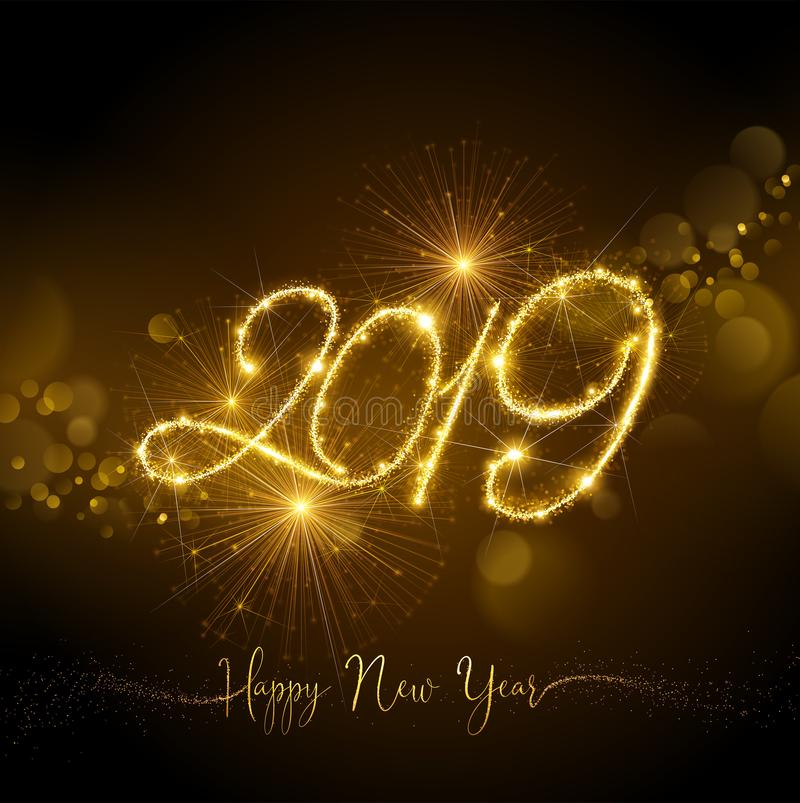 New Year Fireworks 2019 with Flickering Lights Effect. Vector stock illustration
